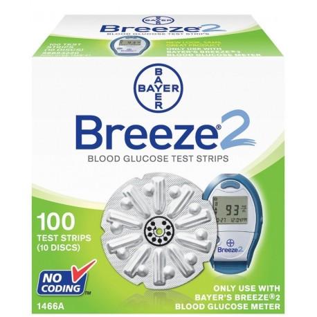 Bayer BREEZE 2 Test Strips 100 Count- Diabetesteststripswholesale