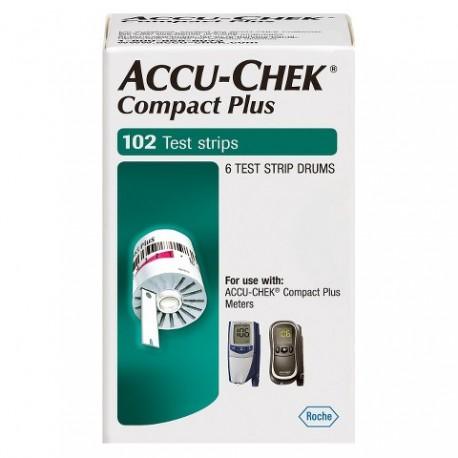 Accu-chek Compact Plus Blood Glucose Test Strips 102 ct- Diabetesteststripswholesale