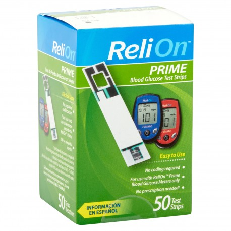ReliOn Prime Blood Glucose Test Strips 50ct for sale