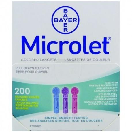 Microlet 28G Coloured Lancets 200- Diabetesteststripswholesale